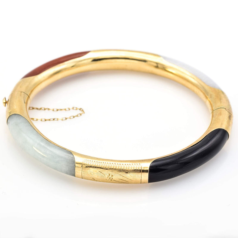 Vintage 14K Yellow Gold Multi-Color Jade Hinged Bangle Bracelet