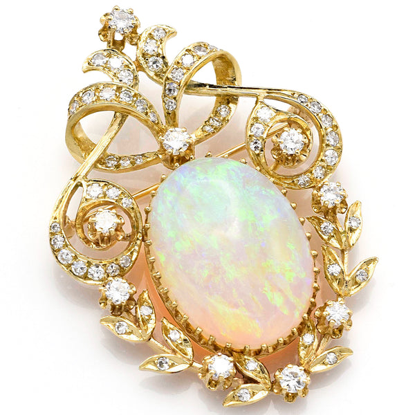 Vintage 14K Yellow Gold 7.24 Ct Opal & 1.70 TCW Diamond Brooch Pin H VS-2