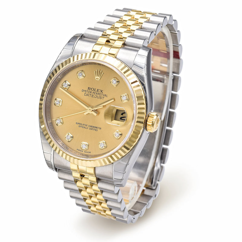 Rolex Datejust Diamond Dial Watch 116233 36mm Box Papers Brand New