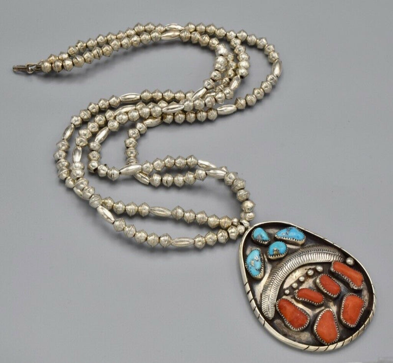 Vintage Southwestern Sterling Red Coral Turquoise Necklace 119.6 Grams 31 Inches