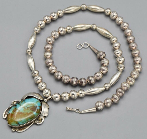Vintage H. Tsosie Sterling Silver Beaded Turquoise Pendant Necklace