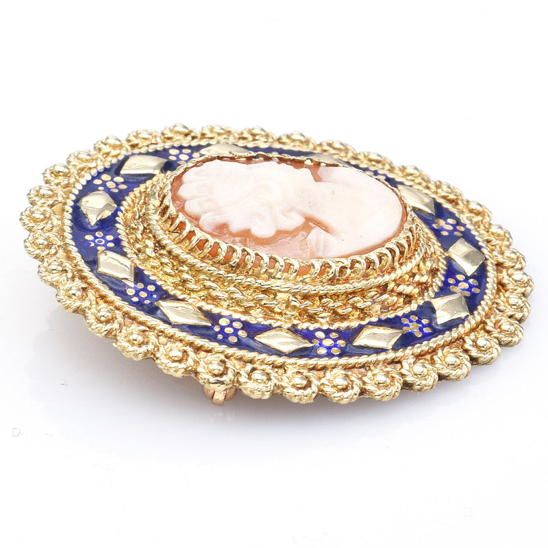 Antique 14K Yellow Gold Cameo & Blue Enamel Oval Brooch Pin