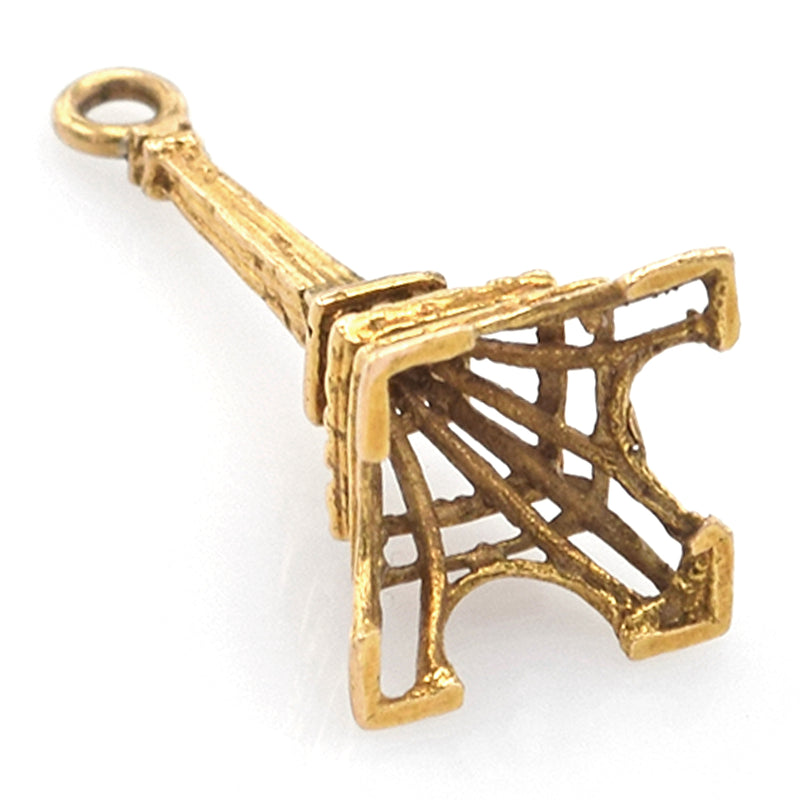 Vintage 14K Yellow Gold Eiffel Tower Charm Pendant