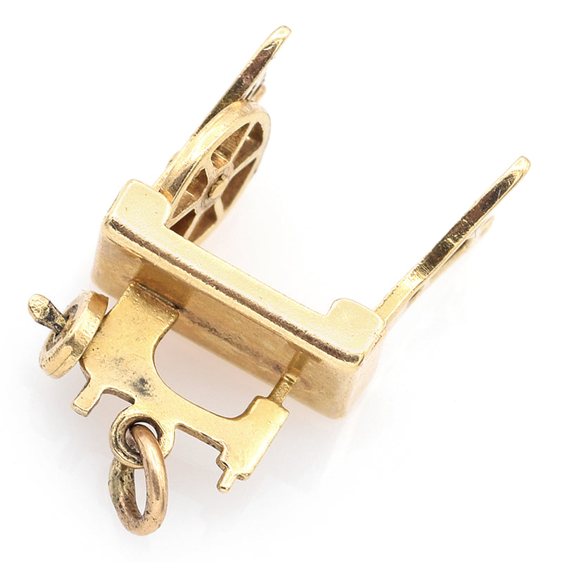 Vintage 14K Yellow Gold Treadle Sewing Machine Charm Pendant 2.2 Grams