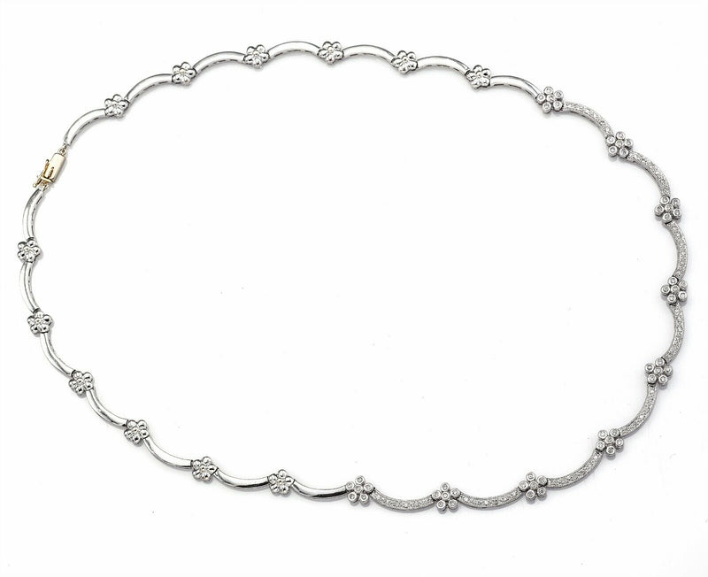 Vintage 14K White Gold 1.02 TCW Diamond Floral Link Necklace