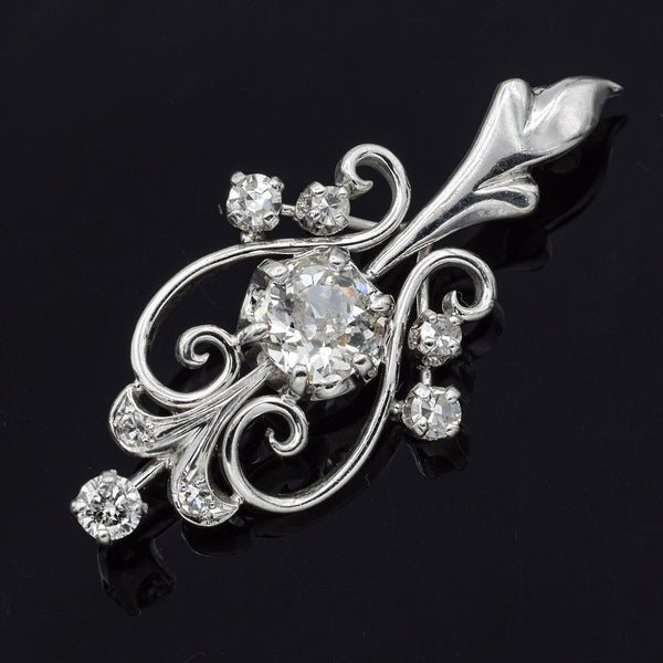 Antique 14K White Gold 0.80 TCW Euro Cut Diamond Art Deco Brooch Pin G/H