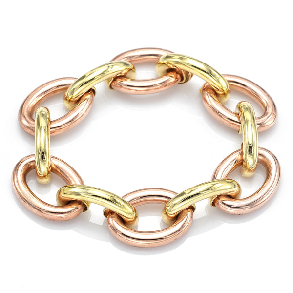 Vintage 14K Yellow & Rose Gold Large Oval Link Bracelet