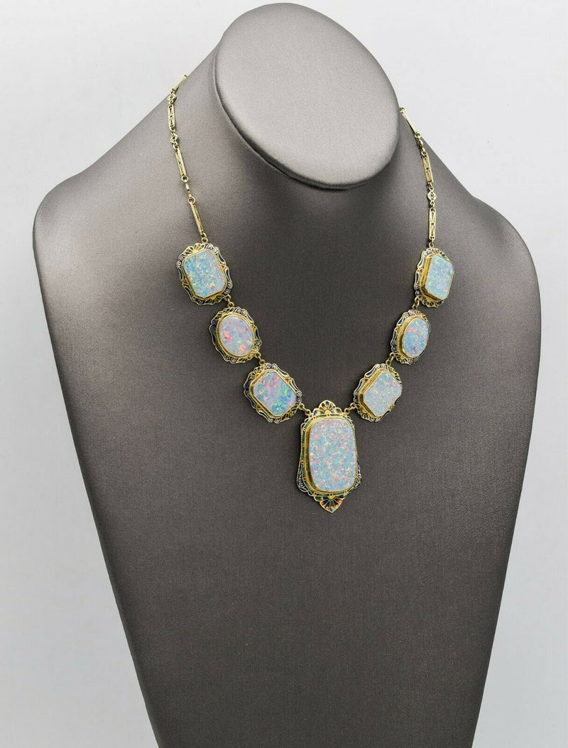 Antique 14K Yellow Gold Victorian Enamel Opal Necklace