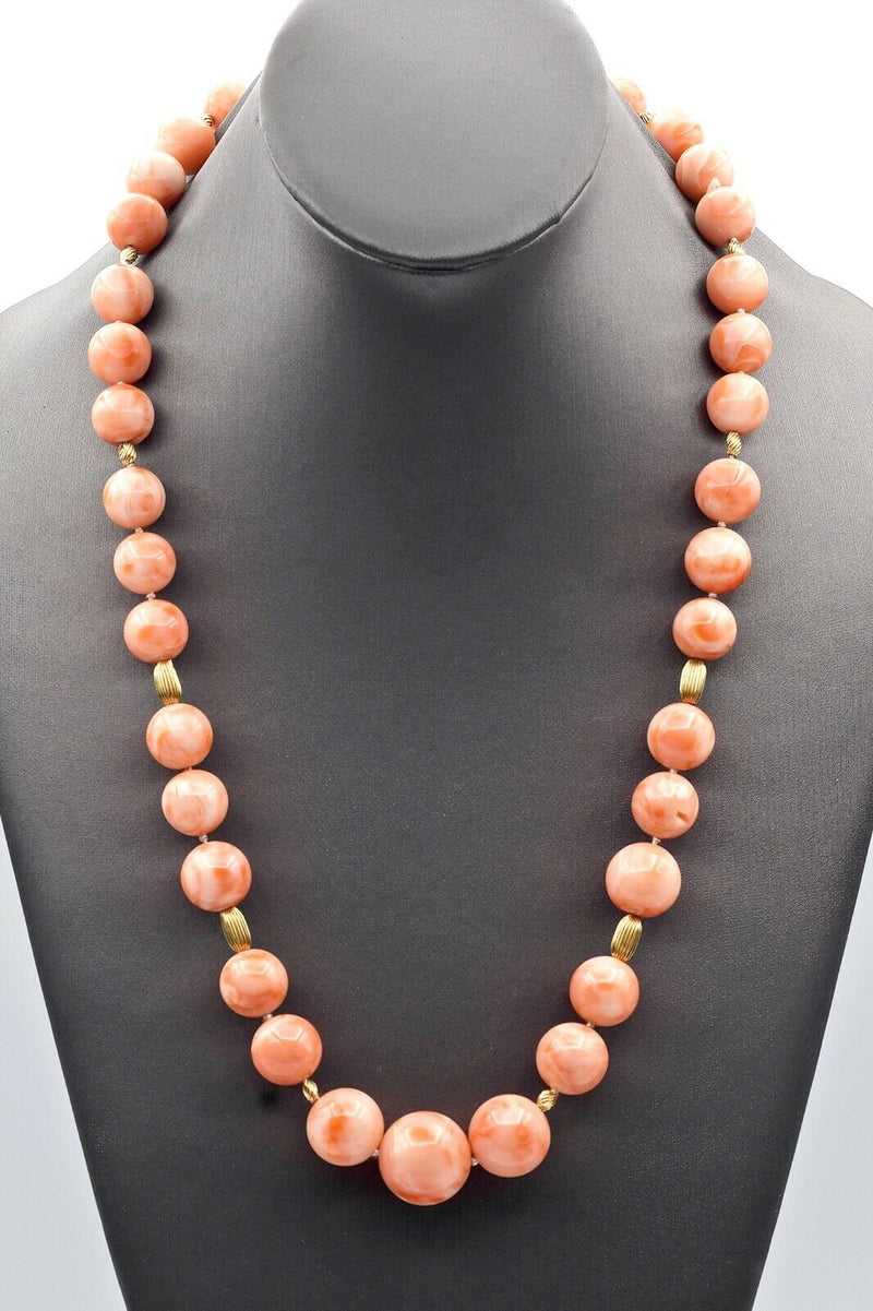 Vintage 14K Yellow Gold Angel Skin Coral Beaded Strand Necklace + Box