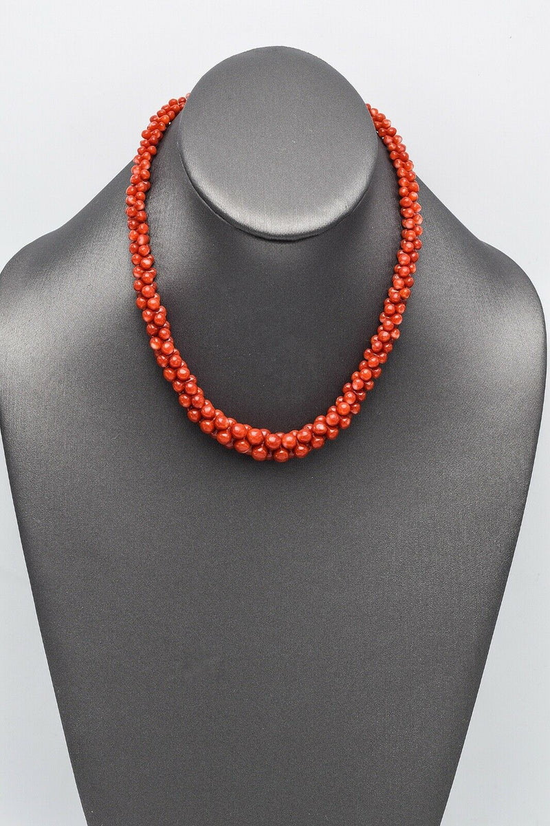 Vintage 18K Yellow Gold Red Coral Beaded Strand Necklace