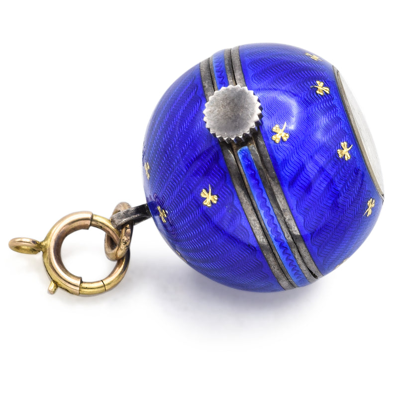 Antique Sterling Silver Blue Enamel Guilloche Ball Pendant Watch Abra Swiss Movement