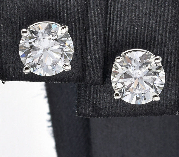 Vintage 14K White Gold 2.19 TCW Diamond Round Stud Earrings