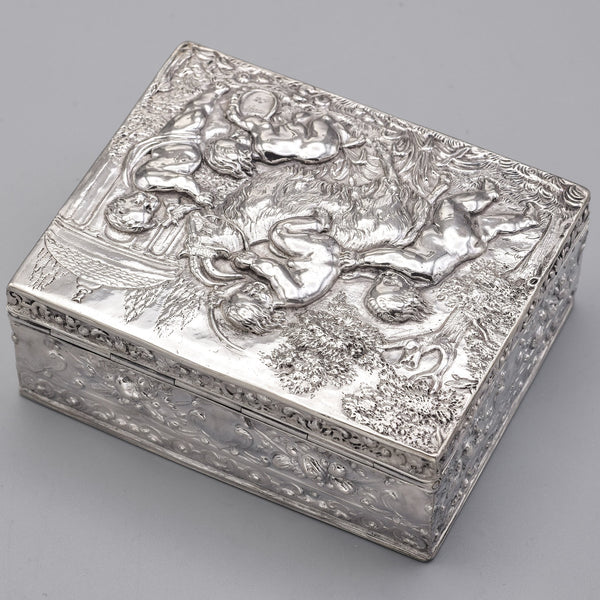 Antique 800 Silver Victorian Cherub & Goat Etched Case Box