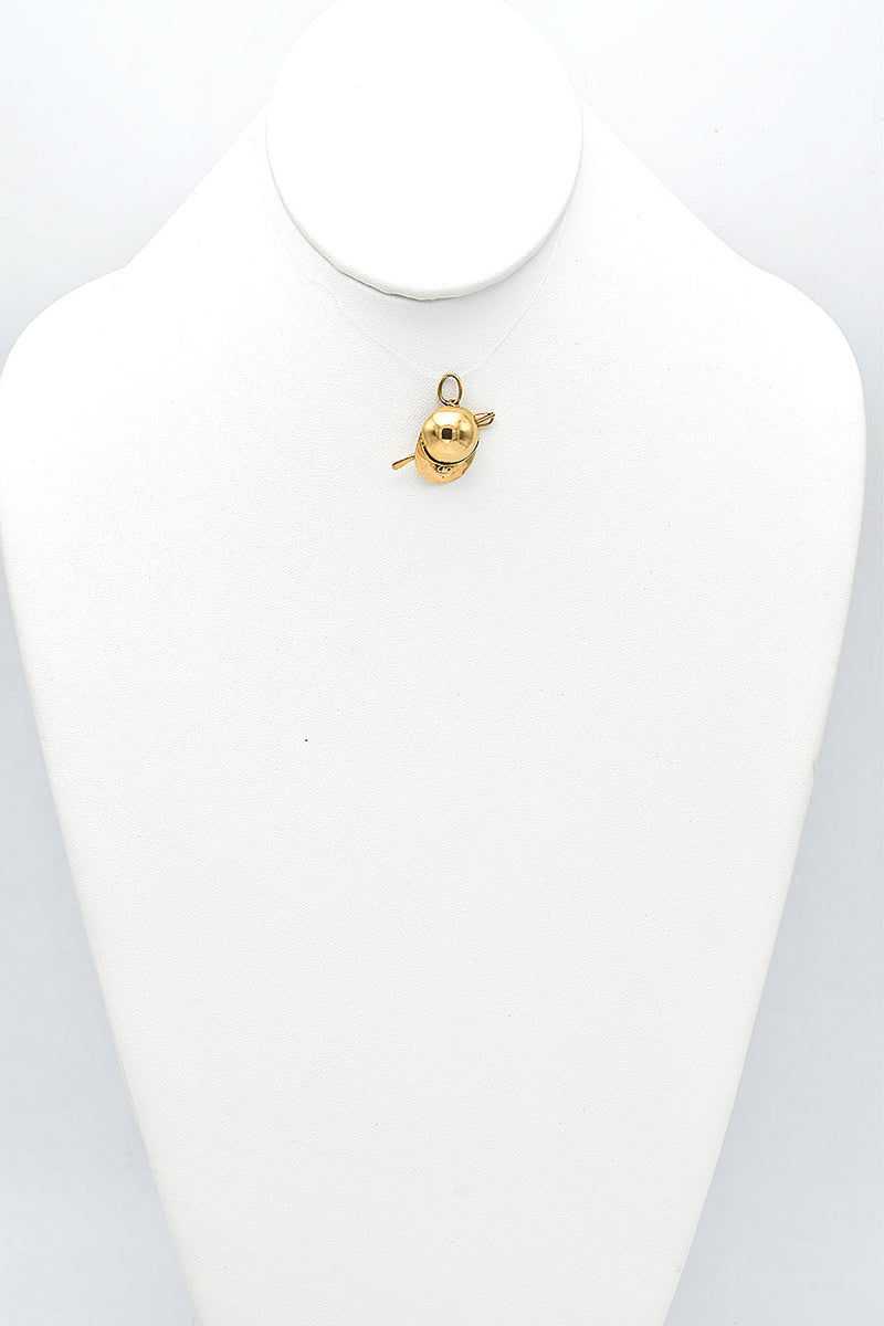 Vintage 14K Yellow Gold Hat Sports Charm Pendant