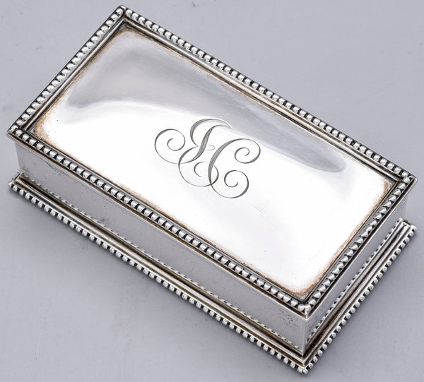 Bigelow Kennard & Co Vintage Sterling Silver Monogram Stamp Box 808C 127.3G