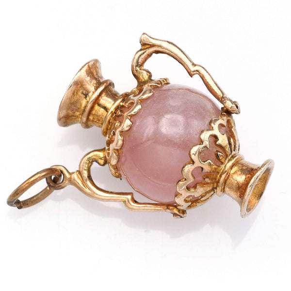 Vintage 9K Yellow Gold Rose Quartz Heart Urn Vase Charm Pendant