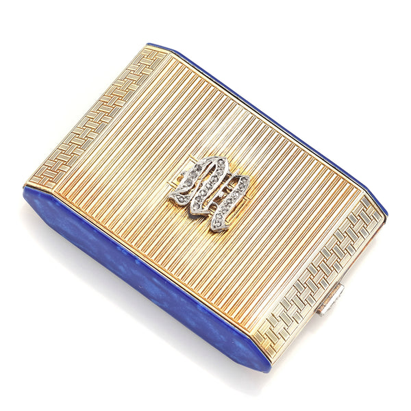 Antique 14K Gold Diamond Blue Enamel Compact Lipstick Powder & Mirror Case