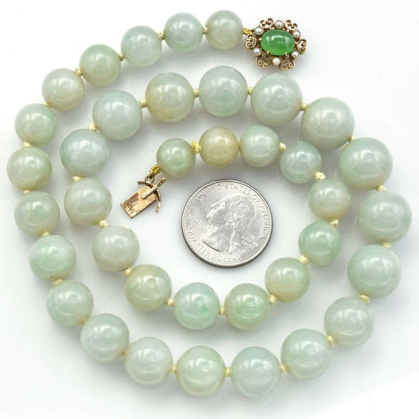 Vintage 14K Gold Large Graduated Celadon Green Jade & Pearl Beaded Necklace