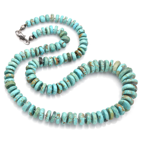 Lise Mori K Sterling Silver Persian Turquoise Long Beaded Disc Necklace