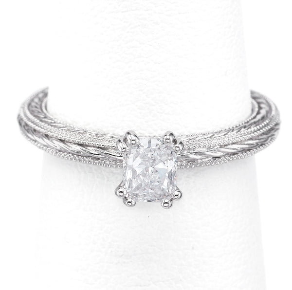 James Allen GIA Certified 14K White Gold 0.42 Carat Diamond Band Ring + Box VVS1