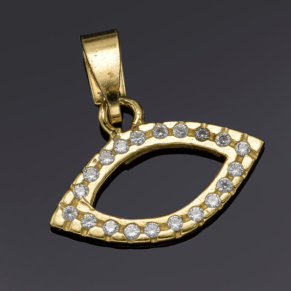 Vintage 14K Yellow Gold CZ Eye Charm Pendant