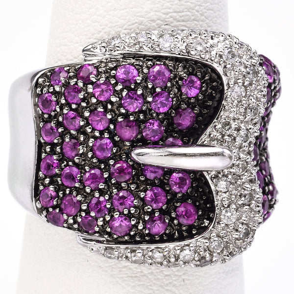 Vintage 18K White Gold Ruby & 0.50TCW Diamond Buckle Cluster Cocktail Ring