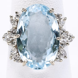 Vintage 14K Gold 7.02Ct Aquamarine & 0.60TCW Diamond Cocktail Ring E/G VS-1