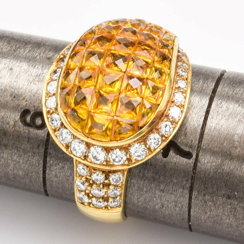 Estate 18K Gold Yellow Sapphire & Diamond Ring