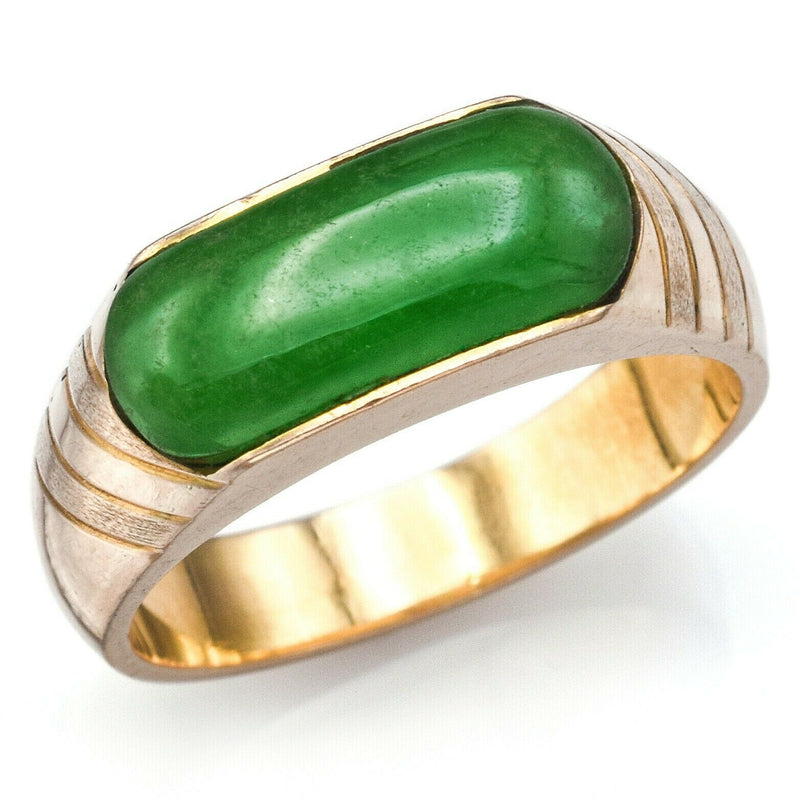 Vintage 18K Yellow Gold Imperial Green Jade Saddle Band Ring