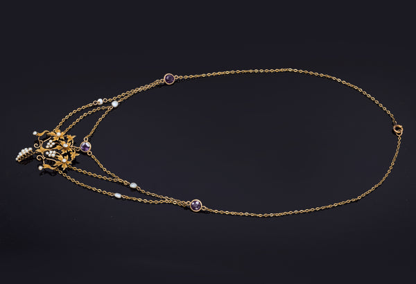 Antique 14K Gold Amethyst, Diamond & Sea Pearl Grape Vine Pendant Necklace