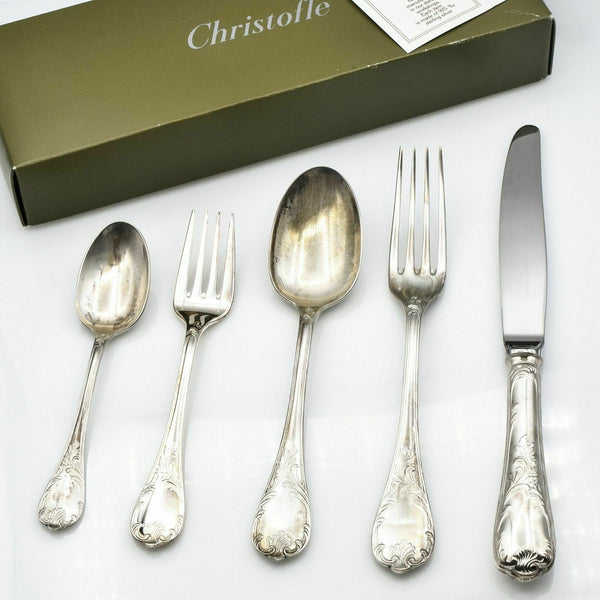 Christofle Marly Sterling Silver 5 Piece Set New in Box Service for 1