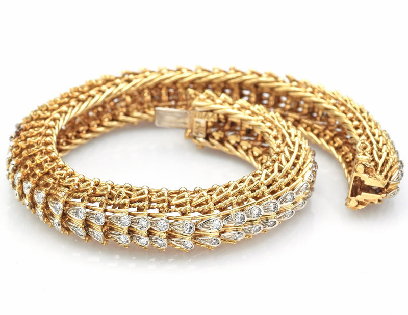 Vintage 18K Yellow Gold Single Cut Diamond Woven Link Bracelet