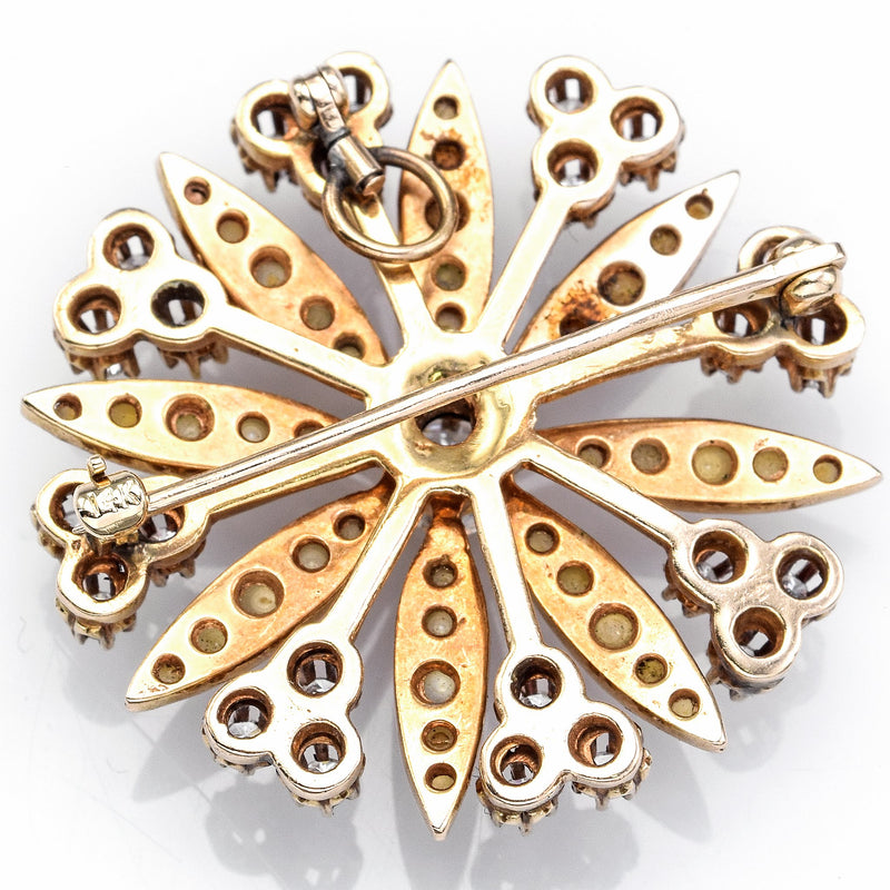 Antique 14K Gold 1.16TCW Diamond & Pearl Snowflake Brooch Pendant
