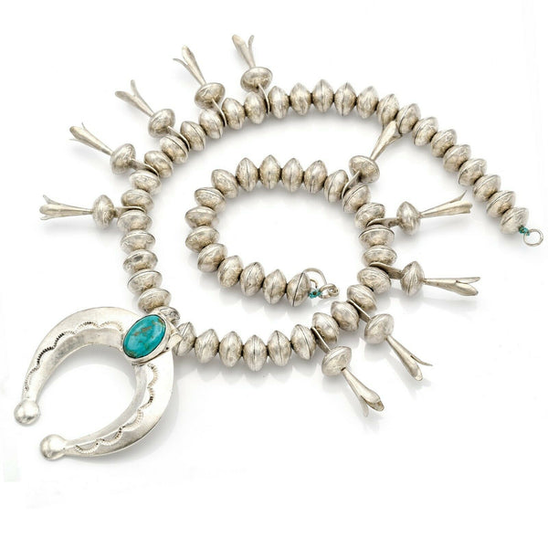 Vintage Silver Turquoise Mercury Dime Beaded Squash Blossom Necklace