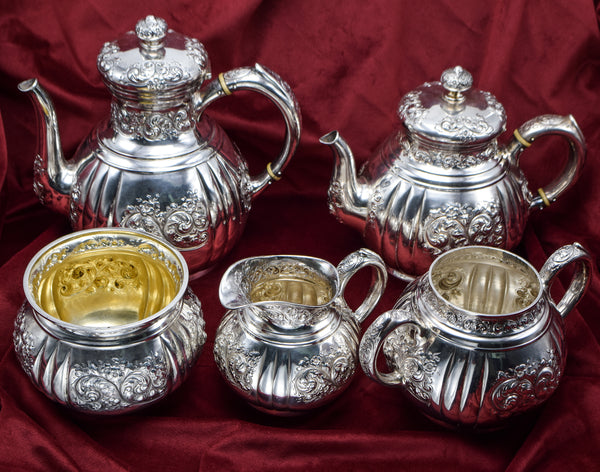 Black Starr & Frost Antique Sterling Silver Repousse Tea and Coffee Set of 5