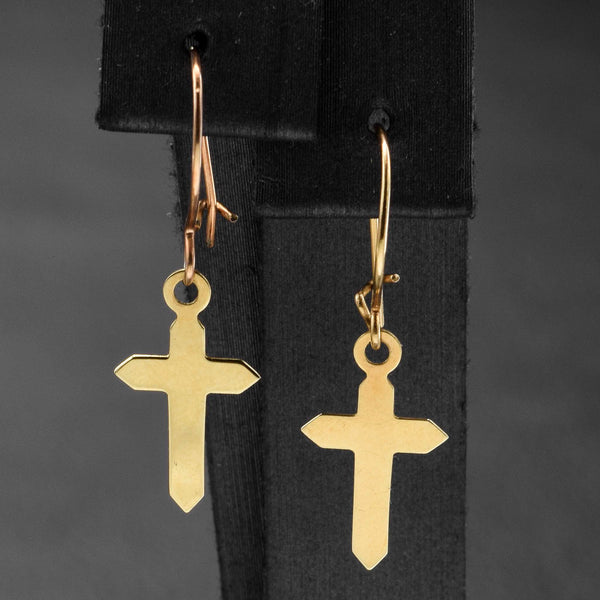 Vintage 14K Yellow Gold Cross Dangle Kidney-Wire Earrings