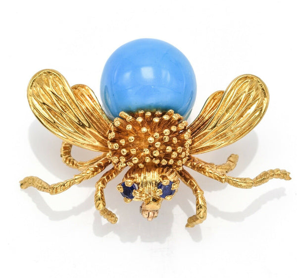 Vintage 18K Gold Sleeping Beauty Turquoise & Sapphire Bee Brooch Pin