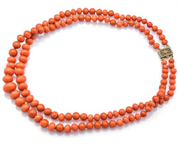 Vintage Sterling Silver Salmon Coral Round Beaded Double-Strand Necklace
