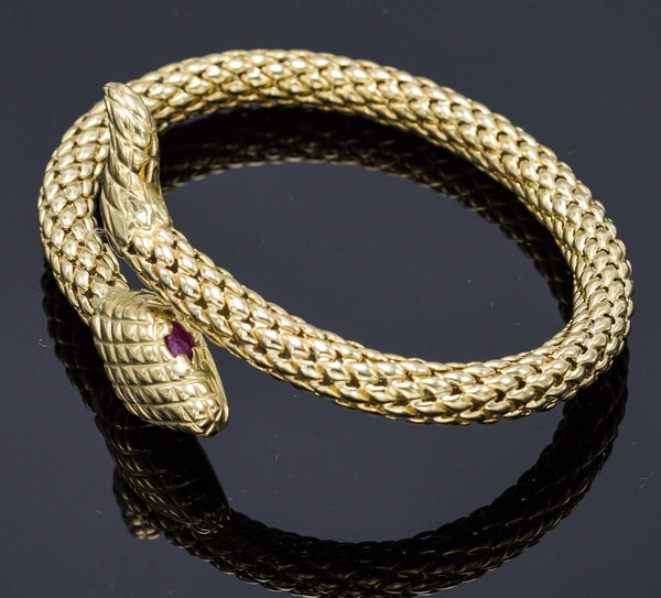 Vintage Italy 14K Yellow Gold Ruby Snake Coil Bangle Bracelet