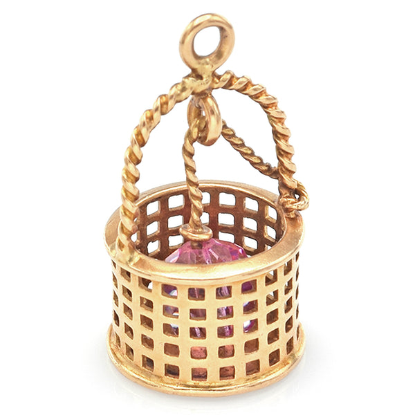 Vintage 14K Yellow Gold Pink Crystal Bucket Charm Pendant