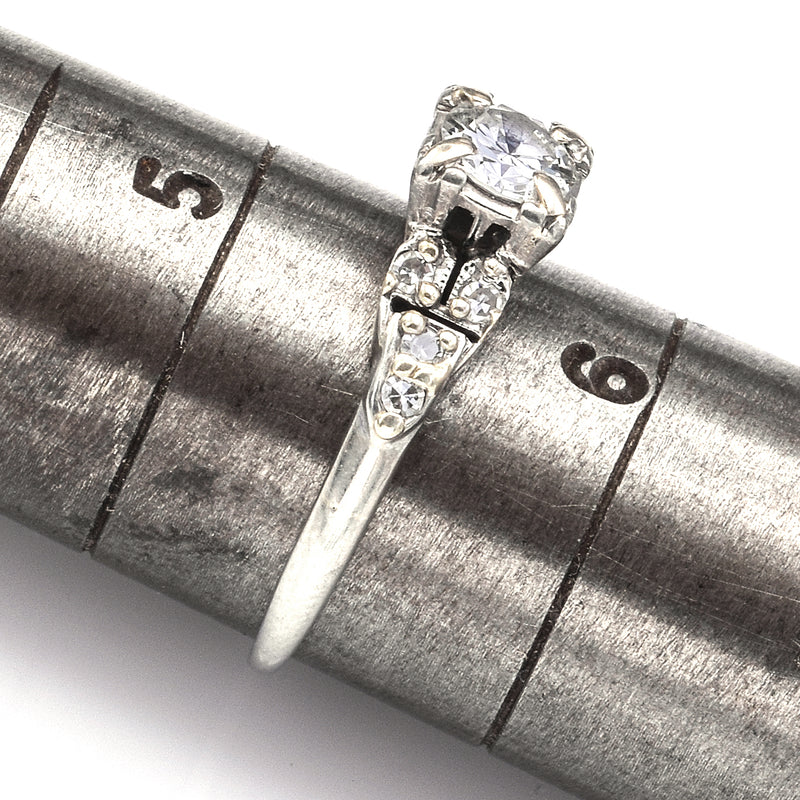 Antique 18K White Gold 0.57 TCW Diamond Art Deco Band Ring
