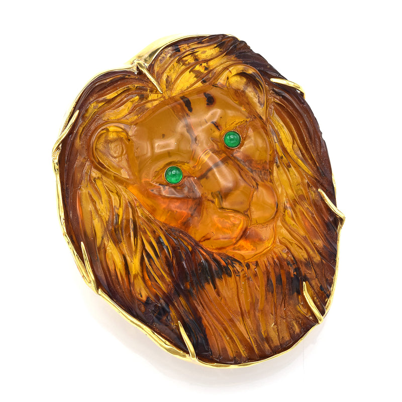 Vintage 18K Yellow Gold Amber & Emerald Large Hand Made Carved Lion Brooch Pin
