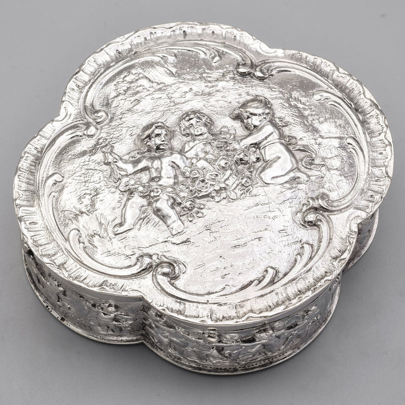Antique 800 Silver Cherub Etched Case Box