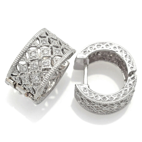 Vintage 14K White Gold Diamond Filigree Hoop Huggie Earrings