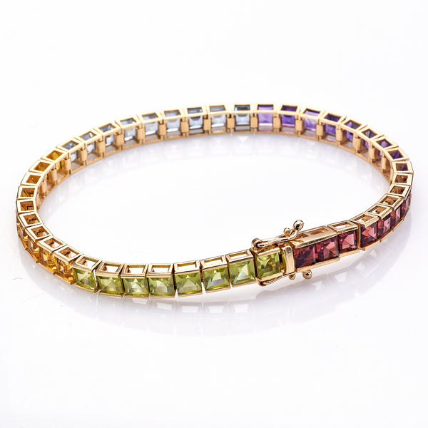 Vintage 14K Yellow Gold Multi Gemstone Tennis Bracelet