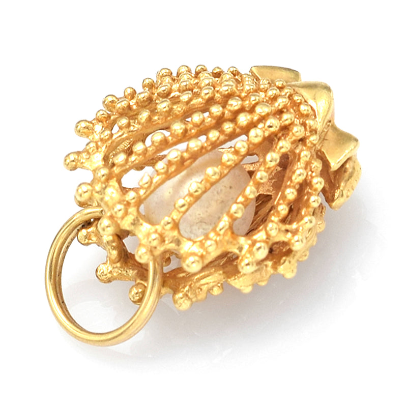 Vintage 14K Yellow Gold Sea Pearl Scallop Shell Cage Charm Pendant