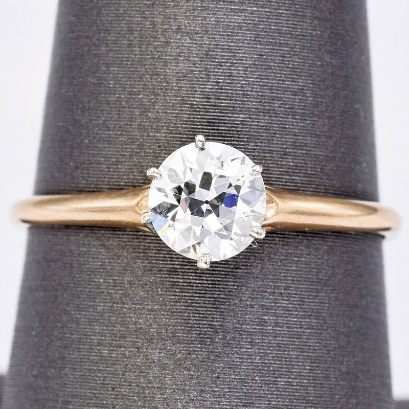 Vintage 14K Yellow Gold 0.77 Ct Diamond Round Solitaire Band Ring