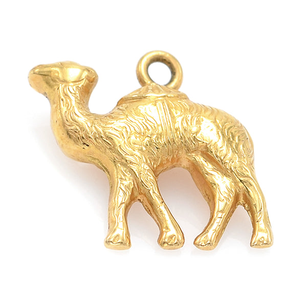 Vintage 18K Yellow Gold Camel Charm Pendant