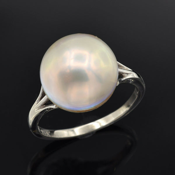 Vintage 14K White Gold Mabe Pearl Band Ring