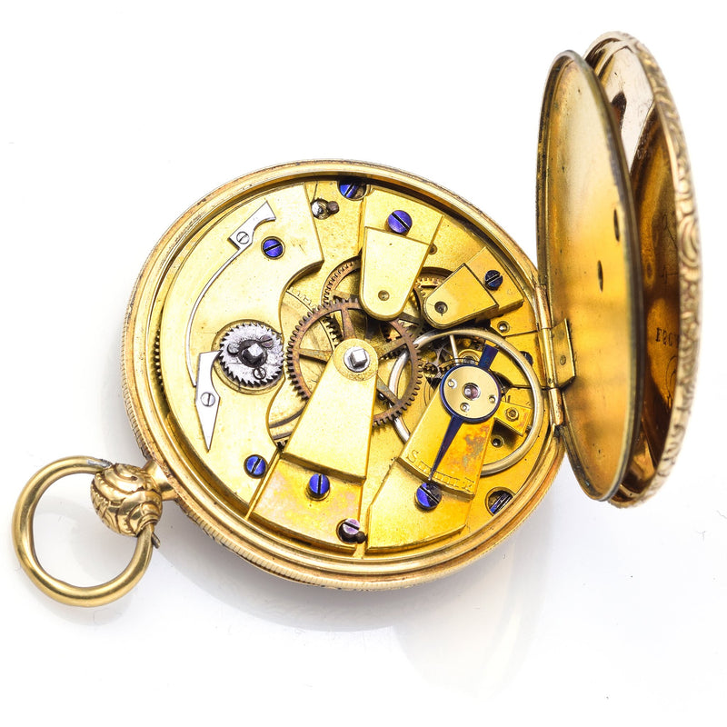 Antique Early 19th Century English 18K Yellow Gold Key Wind Pocket Watch